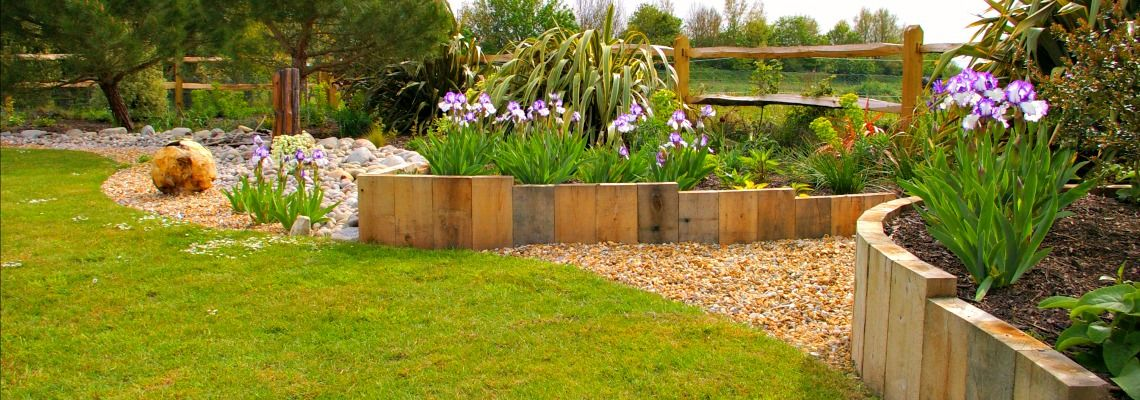 Planting with wooden edging design