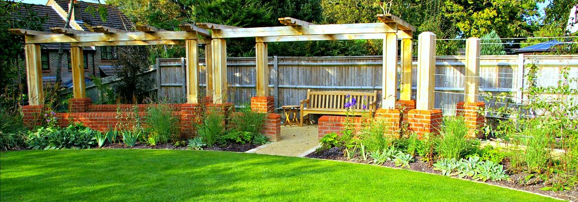 Large oak pergola garden design view