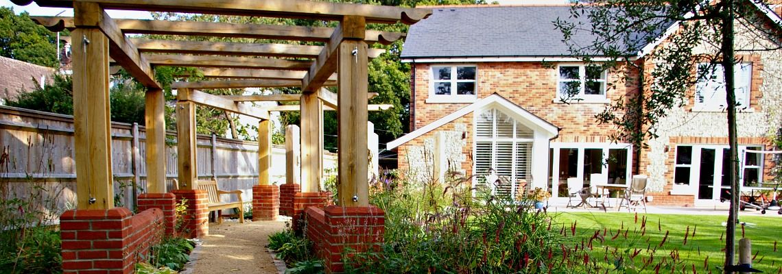Large oak pergola garden design