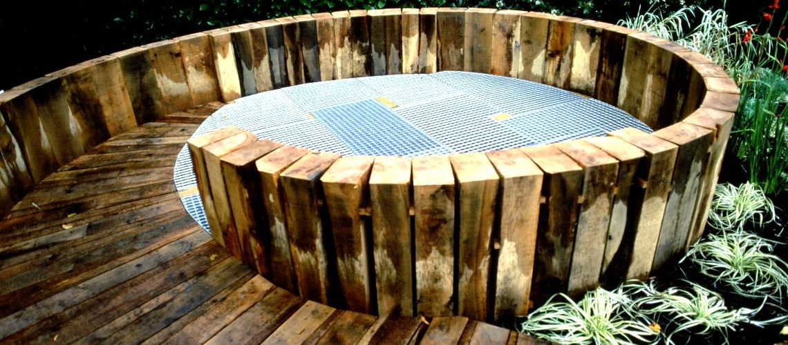 Wooden rotunda garden feature
