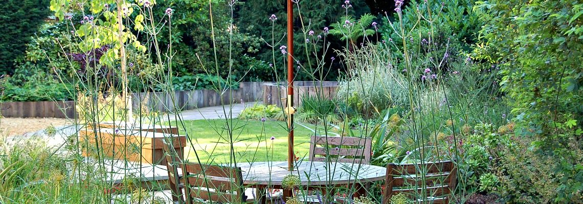 Table and parasol al fresco